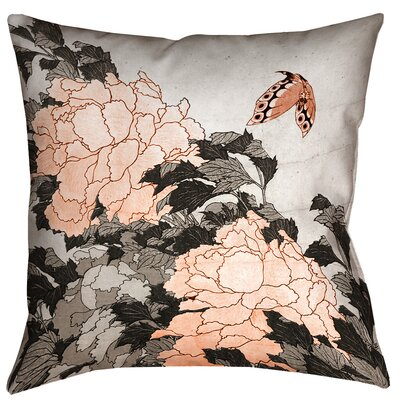 Enya Peonies with Butterfly Throw Pillow Size: 14 x 14, Color: Orange