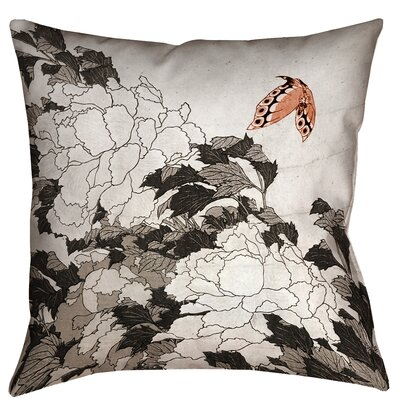 Enya Peonies with Butterfly Throw Pillow Size: 14 x 14, Color: Orange/Gray