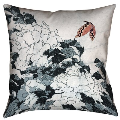 Enya Peonies with Butterfly Throw Pillow Size: 14 x 14, Color: Peach/Gray