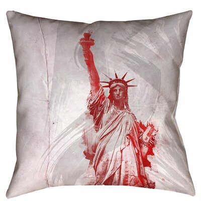 Houck Watercolor Statue of Liberty Zipper Square Throw Pillow Size: 16 x 16