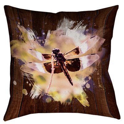 Hansard Watercolor Dragonfly Square Throw Pillow Size: 26 x 26