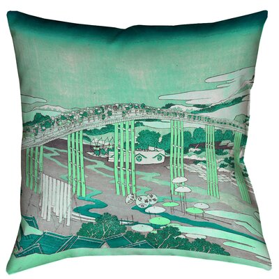 Enya Japanese Bridge Square Throw Pillow Color: Green, Size: 26 x 26