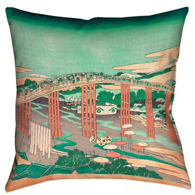 Enya Japanese Bridge Square Throw Pillow Size: 14 x 14, Color: Green/Peach