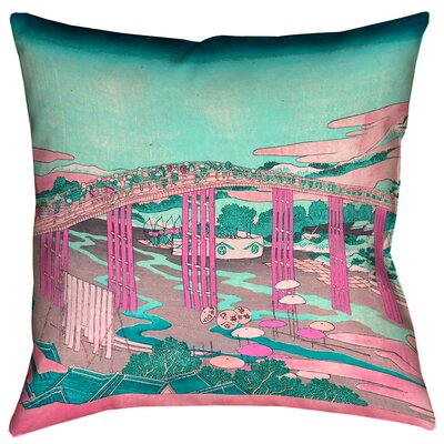 Enya Japanese Bridge Square Throw Pillow Size: 18 x 18, Color: Pink/Teal