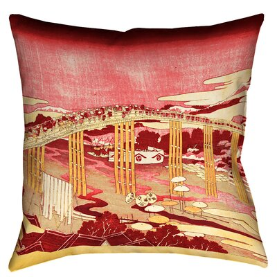 Enya Japanese Bridge Square Throw Pillow Size: 14 x 14, Color: Red/Orange