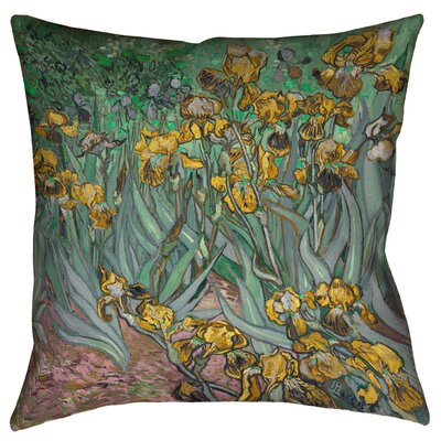 Bristol Woods Irises Square Throw Pillow Size: 18 x 18, Color: Yellow/Blue
