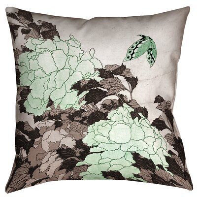 Enya Peonies and Butterfly Throw Pillow Size: 26 x 26, Color: Green