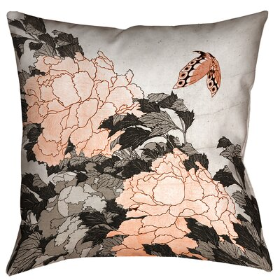 Enya Peonies and Butterfly Throw Pillow Size: 18 x 18, Color: Orange
