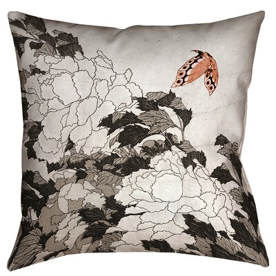 Enya Peonies and Butterfly Throw Pillow Size: 18 x 18, Color: Orange/Gray