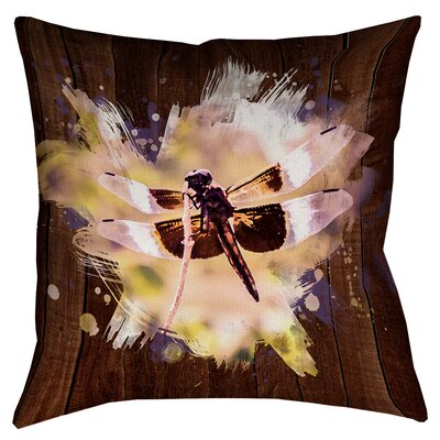 Hansard Watercolor Dragonfly Cotton Throw Pillow Size: 16 x 16