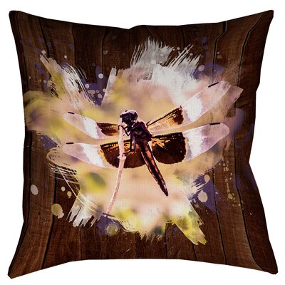 Hansard Watercolor Dragonfly Square Cotton Pillow Cover Size: 16 x 16