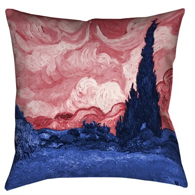 Belle Meade Wheatfield with Cypresses Linen Throw Pillow Color: Red/Blue, Size: 26 x 26