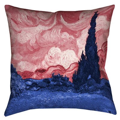 Belle Meade Wheatfield with Cypresses Square Linen Pillow Cover Color: Red/Blue, Size: 26 x 26