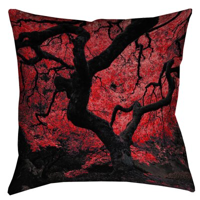 Ghost Train Japanese Maple Tree Throw Pillow Size: 20 x 20, Color: Red
