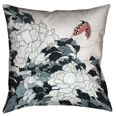 Clair Peonies with Butterfly Throw Pillow Color: Peach/Gray, Size: 18 x 18