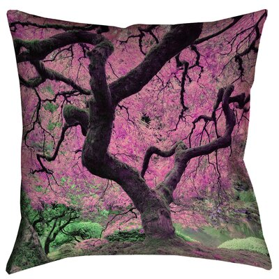 Ghost Train Japanese Maple Tree Double Sided Print Throw Pillow Color: Pink, Size: 16 x 16