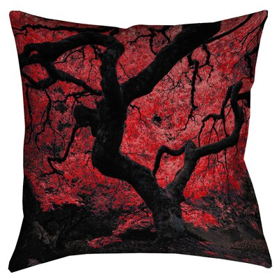 Ghost Train Japanese Maple Tree Double Sided Print Throw Pillow Size: 14 x 14, Color: Red