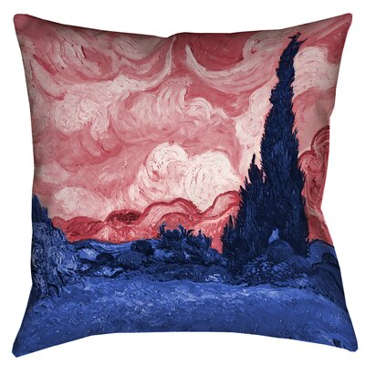 Bristol Woods Cotton Throw Pillow Size: 18 x 18, Color: Red/Blue