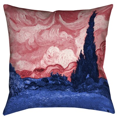 Bristol Woods Square 100% Cotton Pillow Cover Size: 14 x 14, Color: Red/Blue