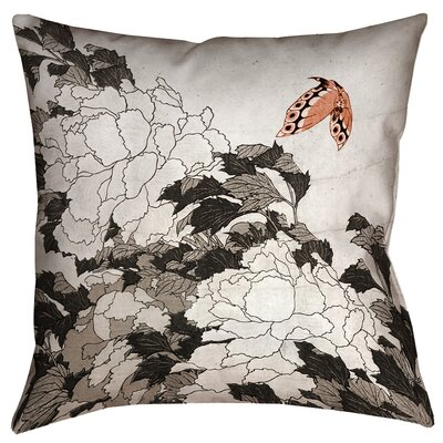 Clair Peonies with Butterfly Indoor Throw Pillow Size: 14 x 14, Color: Orange/Gray