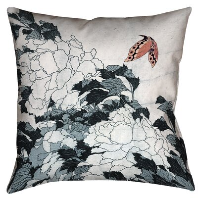 Clair Peonies with Butterfly Indoor Throw Pillow Size: 26 x 26, Color: Peach/Gray