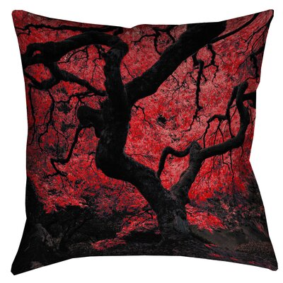 Ghost Train Japanese Maple Tree Printed Square Throw Pillow Size: 14 x 14, Color: Red