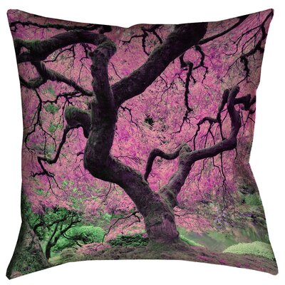 Ghost Train Japanese Maple Tree Printed Square Throw Pillow Size: 18 x 18, Color: Pink