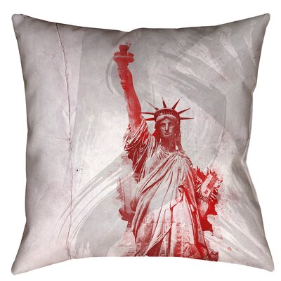 Houck Watercolor Statue of Liberty Concealed Zipper Square Pillow Cover Size: 18 x 18