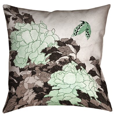 Clair Peonies with Butterfly Indoor Square Pillow Cover Size: 20 x 20, Color: Green