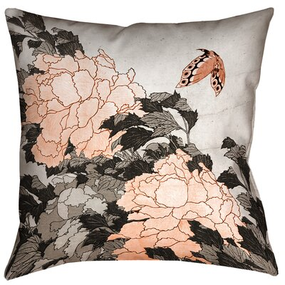 Clair Peonies with Butterfly Indoor Square Pillow Cover Size: 14 x 14, Color: Orange