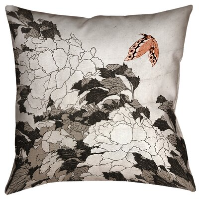 Clair Peonies with Butterfly Indoor Square Pillow Cover Size: 16 x 16, Color: Orange/Gray