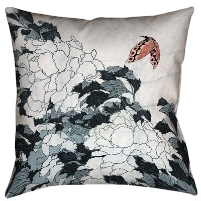 Clair Peonies with Butterfly Indoor Square Pillow Cover Size: 16 x 16, Color: Peach/Gray