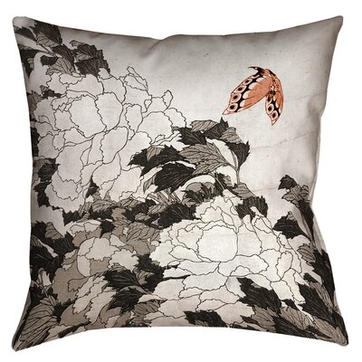 Clair Peonies with Butterfly Square Throw Pillow Size: 14 x 14, Color: Orange/Gray
