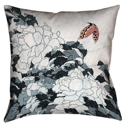 Clair Peonies with Butterfly Square Throw Pillow Color: Peach/Gray, Size: 26 x 26