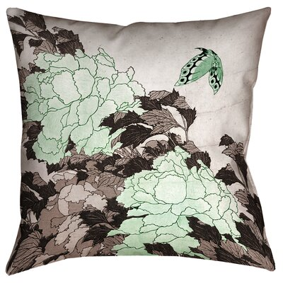 Clair Peonies with Butterfly Square Throw Pillow Size: 16 x 16, Color: Green