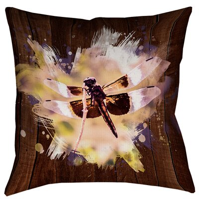 Hansard Watercolor Dragonfly Square Pillow Cover Size: 14 x 14