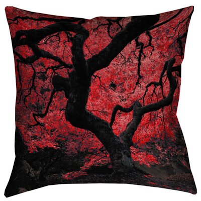 Ghost Train Japanese Maple Tree Linen Throw Pillow Size: 26 x 26, Color: Red