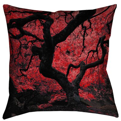 Ghost Train Japanese Maple Tree Square Linen Pillow Cover Size: 26 x 26, Color: Red