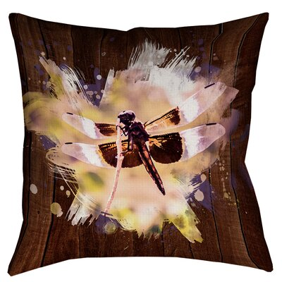Hansard Watercolor Dragonfly Zipper Square Throw Pillow Size: 18 x 18