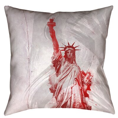 Houck Watercolor Statue of Liberty Waterproof Throw Pillow Size: 16 x 16