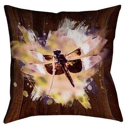 Hansard Watercolor Dragonfly Waterproof Throw Pillow Size: 18 x 18