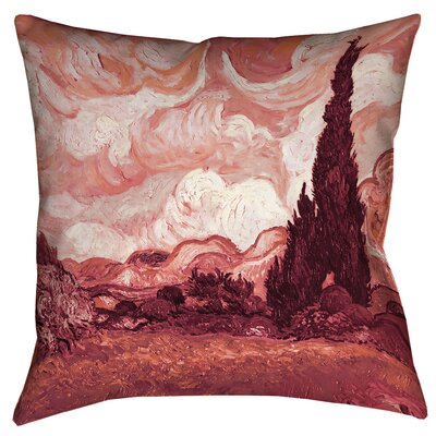 Belle Meade Wheatfield with Cypresses Throw Pillow Color: Red, Size: 18 x 18