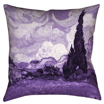 Belle Meade Wheatfield with Cypresses Indoor Pillow Cover Color: Purple, Size: 26 x 26