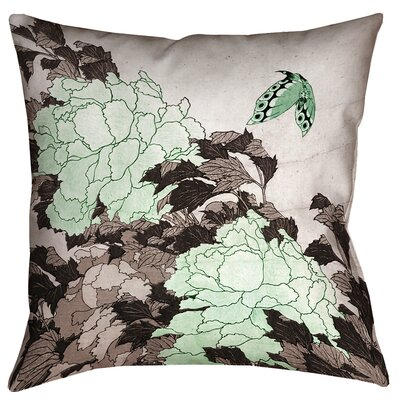 Clair Peonies with Butterfly Square Linen Pillow Cover Color: Green, Size: 14 x 14
