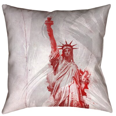 Houck Watercolor Statue of Liberty Printed Square Pillow Cover Size: 16 x 16