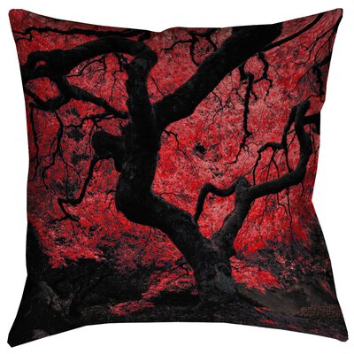 Ghost Train Japanese Maple Tree Outdoor Throw Pillow Size: 18 x 18, Color: Red