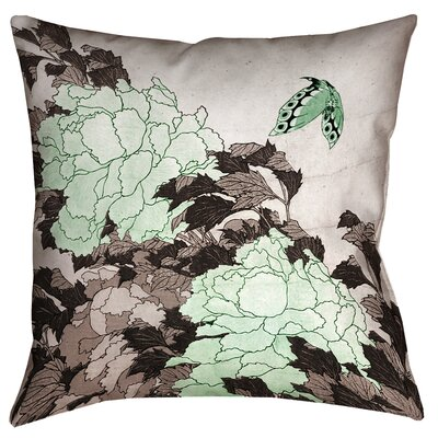 Clair Peonies with Butterfly Outdoor Throw Pillow Size: 16 x 16, Color: Green