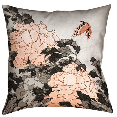 Clair Peonies with Butterfly Outdoor Throw Pillow Size: 16 x 16, Color: Orange