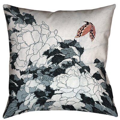 Clair Peonies with Butterfly Outdoor Throw Pillow Color: Peach/Gray, Size: 18 x 18