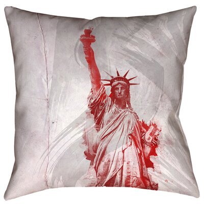 Houck Watercolor Statue of Liberty Outdoor Throw Pillow Size: 16 x 16